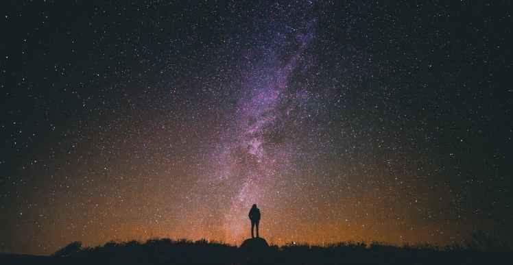 person sky silhouette night
